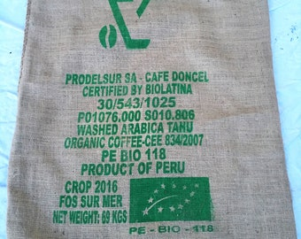 The burlap from coffee organic came away from a bag charm