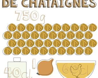 """Affiche cuisine A3 - La Recette graphique """"Velouté de châtaignes"""""""