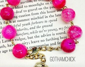 Crimson Prayers Agate Rosary Bracelet RB-30