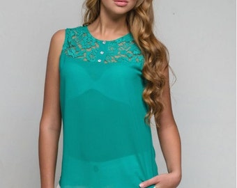 Chiffon aqua blue blouse /turquoise  shirt women Guipure / Summer sleeveless shirt / business clothes for women
