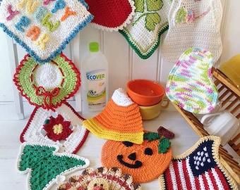 Holiday Dishcloth Set Crochet Pattern - PDF