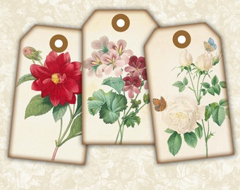 Vintage Flower Tags #1 -  Digital Collage Sheet Printable Download Images Jewelry Holders Gift Tags Paper Scrapbook