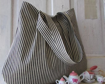 Bag black and white striped canvas shopping bag shoulder bag market tote