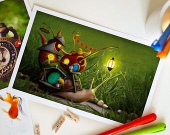 Large Fantasy Postcard, Nursery Decor, Home Decor, Invite - 8.5 x 5.5 inches