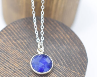 """Faceted Lapis Pendant Sterling Silver 16"""""""