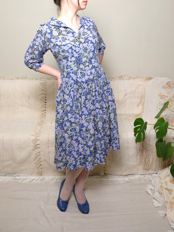 Vintage Blue chiffon 50s dress 40s print Summer dress size Floral Short Crepe J1 dress dress sleeve medium TnYxtFwF