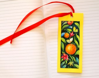 Cute bookmark Yellow bookmark Bookmark for book Ribbon bookmark Bow bookmark Floral bookmark Hand painted bookmark Butterfly bookmark