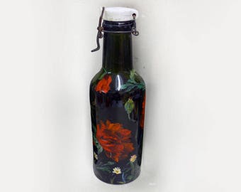 Old bottle hand painted