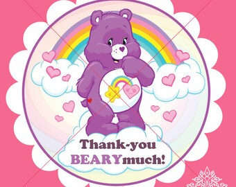 Care-Bear Set of 12 Thank you stickers