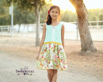 Hailey's drop waist top and Dress. PDF sewing patterns for girls sizes 2t-12
