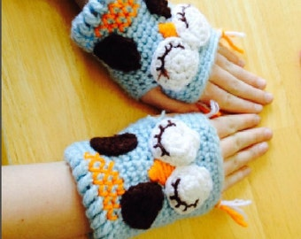 Fingerless Owl Gloves