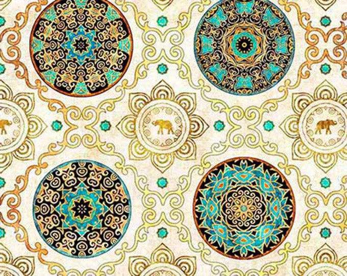 CARAVAN - Scroll and Medallions in Natural - Cream Cotton Quilt Fabric - Dan Morris for Quilting Treasures Fabrics - 26182-E (W4531)
