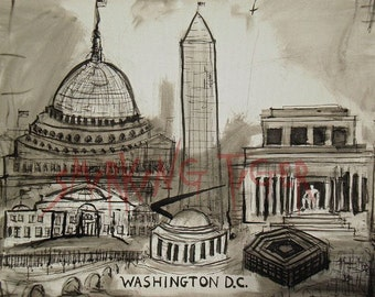 Washington DC Cityscape: Washington DC Skyline featuring The White House and Washington Monument, 11X14