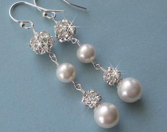 Pearl Earrings, Teardrop Pearls and Rhinestone Balls with White or Ivory Pearls, Long Pearl Earrings, Long Dangle Wedding Earrings