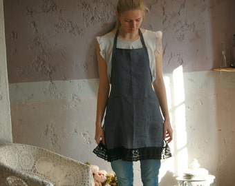 Linen full apron with pockets, washed linen with lace details