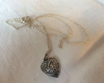 """Puffy Heart Necklace, Sterling, """"Key to my Heart"""""""