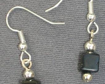 Black Onyx Cube Earrings