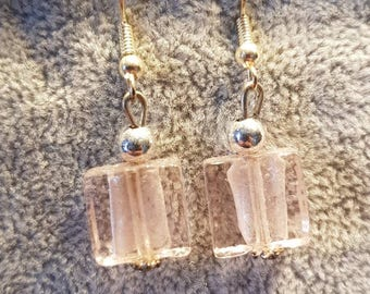 Silver plated lampwork drop earrings