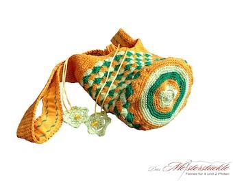 Bolso del ganchillo del bolso bandolera naranja verde amarillo