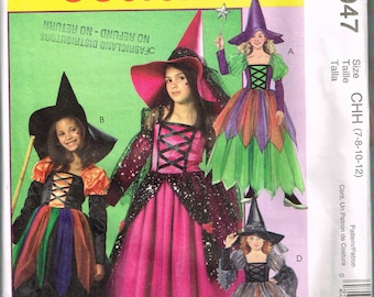 Size 7-12 Girl's Costume Sewing Pattern - Witch Costume Pattern - Witch Dress Halloween Costume - Witch Hat - McCalls M4947