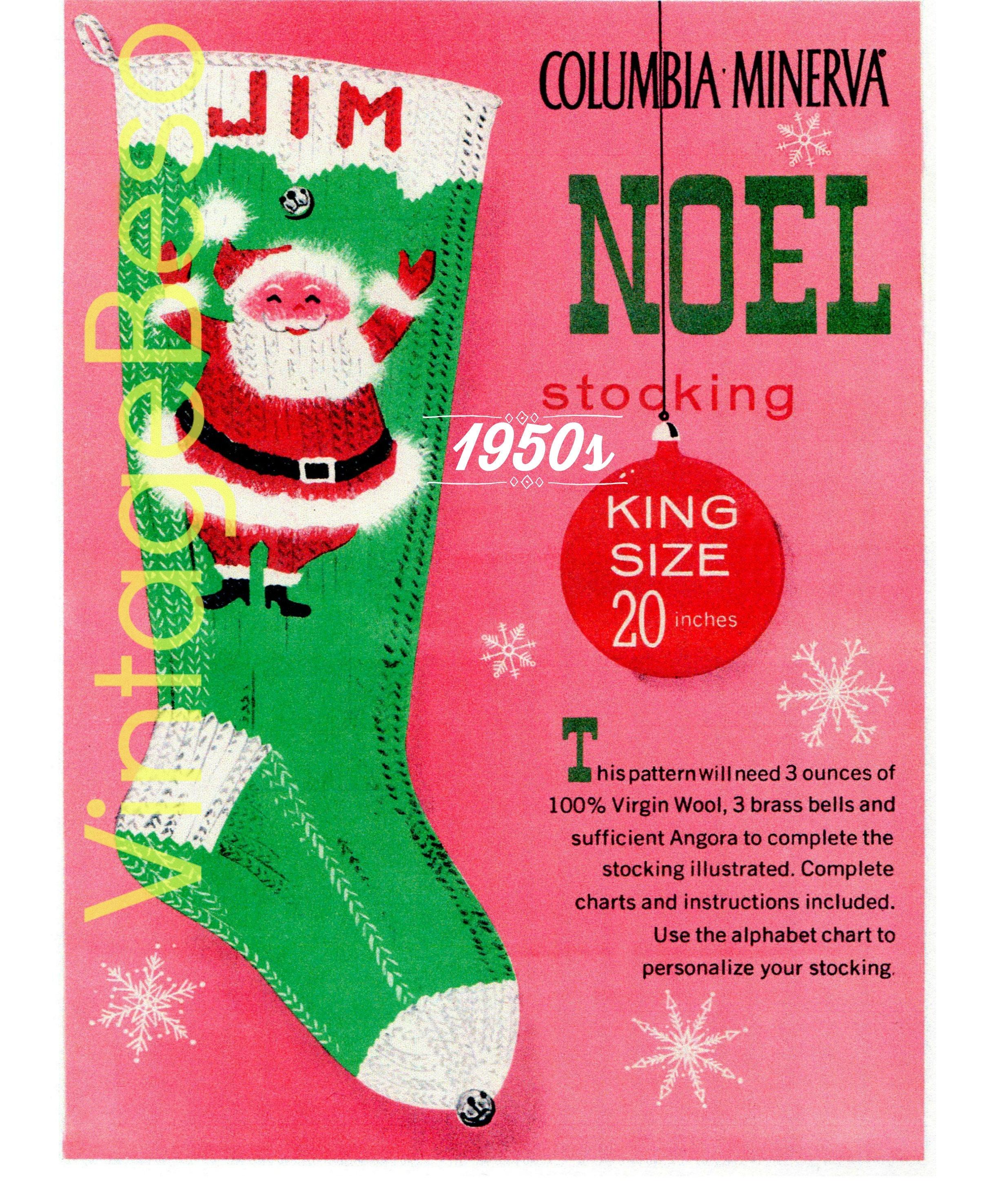 PDF Pattern • Knit Christmas STOCKING Pattern • Vintage 1950s Jim ...