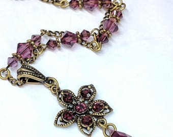 Swarovski Amethyst Crystal Pendant Necklace, Floral Pendant, Victorian Vintage Inspired Necklace Jewelry, Romantic Necklace, Valentine
