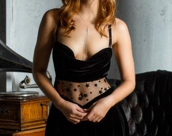 Gown Chemise Slip Black Velvet / Silk Rayon Lace Stars Black Sheer Draped / REBELLE Short Gown - Noir