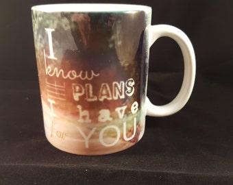 Jeremiah 29:11 Scripture Mug, I Know The Plans I Have For You Mug, Inspirational Gift, 11 oz Porcelain Mug, Coffee Mug, Cocoa Mug, Pathway