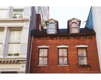 NYC Photography Architecture Photography New York SoHo Abandoned Building Vintage Landscape Photography Brownstone Windows Large Wall Art