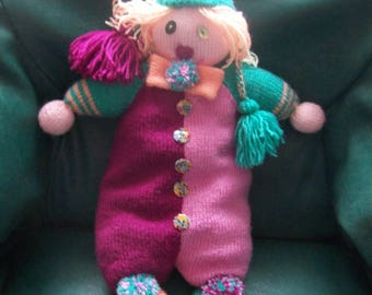 Hand-knitted blanket multicolored clown -