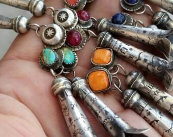 Dangle earrings. Squash blossom earrings.  Handmade earrings. Oxidized silver earrings. Gemstone earrings. Ruby earrings. Sapphire earrings.