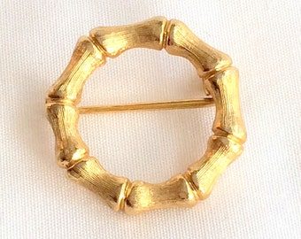 Bamboo Brooch Design Gold Tone