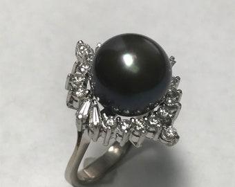 14 K White Gold Black Pearl & Baguette Diamond Ring ~ IGI Gemological Cert