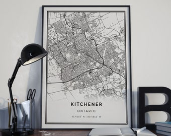 Kitchener map poster print wall art | Ontario gift printable download | Modern map decor for office, home and nursery | MP328