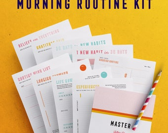 Morning Routine Kit, Printable planner kit, Routine planner, Daily Routine, Habit tracker, Goal setting, Instant download, A4, A5, US Letter