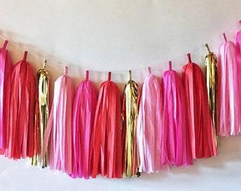 Tissue Tassel Garland  //  Pink  //  Blush  //  Red //  Gold  //  Party Decoration  //  Bridal Shower  //  Valentine's Day