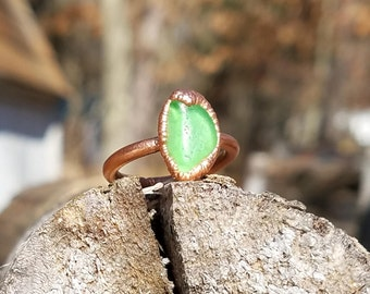 Green Beach Glass and Electroformed Copper Ring Size 6