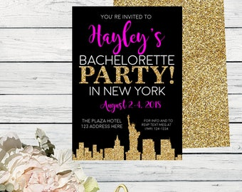 New york invitation etsy new york bachelorette party invite black pink and gold glitter itinerary available digital file diy print bach newyork stopboris Gallery