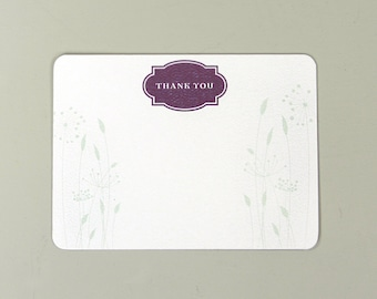 Simple Floral Wedding Thank You Note Cards with A2 Envelopes