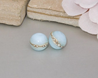 Handmade Lampwork Glass Round Bead Pair SRA DIY-Bastets Beads- Silver Sky