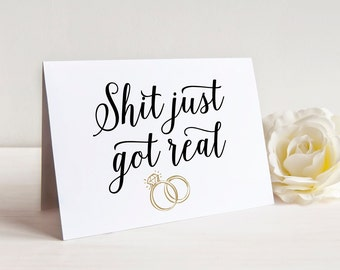 Printable Will You Be My Bridesmaid Card, Funny Bridesmaid Proposal Gift, Will You Be My Maid of Honor Card, Shit Just Got Real