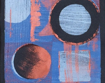 Original 3 colour monotype print - Cosmos I