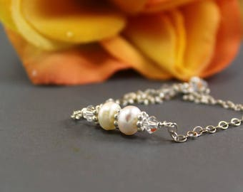 Sterling Silver Pearl and Swarovski Crystal Bracelet - Bridesmaids Gift ~ Handmade by Adonia Jewelry