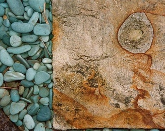 Abstract photograph turquoise beige rust colors textures Bali rocks pebbles design Asia wall decor decorative art