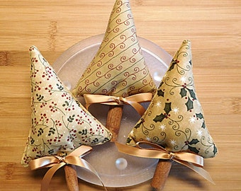 Gold Christmas Trees Ornaments Primitive  Bowl Fillers Holiday Decor