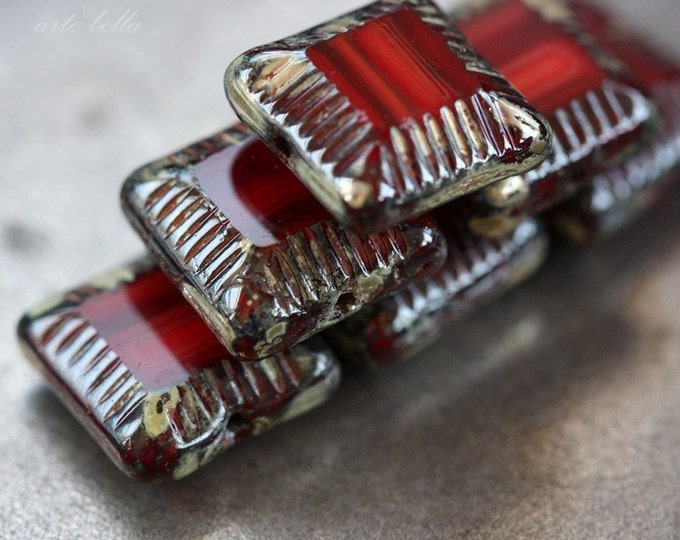 RED WINDOWS .. 6 Picasso Czech Glass Chunky Beads 14x7mm (3583-6)