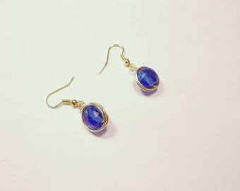 Wrapped cobalt blue faceted Czech glass earrings