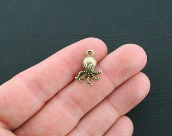 6 Octopus Charms Antique Bronze Tone - BC277