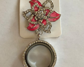 Flower Rhinestone Locket Brooch