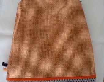 Orange and black winter sleeping bag